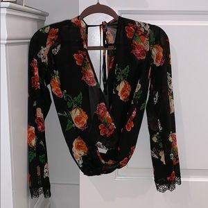 Nasty Gal Floral Scoop Neck Blouse